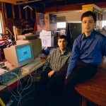Page (left) and Brin (right) in their garage-office rented from Susan Wojcicki.