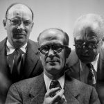 John Bardeen, William Shockley, and Walter Brattain shared the 1956 Nobel Prize in Physics for their invention of the transistor.